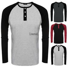 Men O-Neck Raglan Long Sleeve Patchwork Slim Fit Baseball T-Shirt Tops LM01
