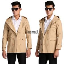 New Mens Fashion Casual Double Breasted Trench Slim Fit Long Coat Hoodies LM02