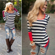 Fashion Neck Top Hot Blouse Casual Sexy Crew Women Striped T-Shirt Long Sleeve