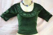 "Dark Green Velvet Blouse Top 34"" www. Outfit International special TRENDY #16YT6"