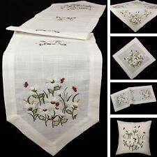 White Marguerite and Red Ladybird Embroidery Table runner Tablecloth Doily Cream