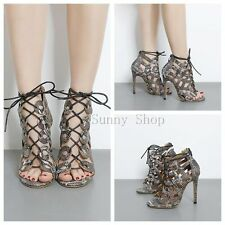 Womens Faux Snake Skin Strappy Stiletto Heel Sandals Shoes