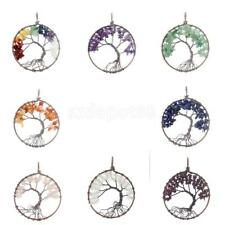 Tree of Life Healing Crystal Wire Wrap Gemstone Beads Necklace Charm Pendant