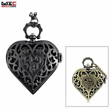 Vintage Heart Antique Pocket Watch Chain Quartz Pendant Necklace Mens Gift Retro