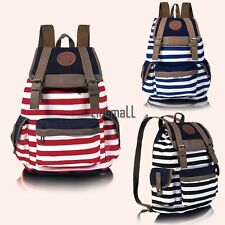 New Fashion Women Girls Backpack Canvas Stripe Leisure Bags School Bag 3 LM01