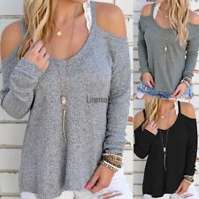New Women Casual Off Shoulder Loose Spaghetti Strap Long Sleeve Top Blouse LM02