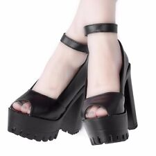 New Women's Very High Block Heel Platform Shoes White Black Ankle Strap Shoes