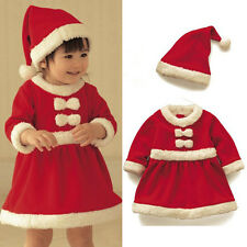 2pcs Girls Baby Toddler Christmas Claus Santa Dress + Hat Costume Xmas Outfit