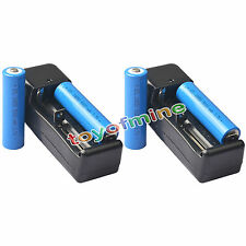 4x 3.7V 18650 GTL Li-ion 5000mAh Rechargeable Battery For Flashlight +2x Charger