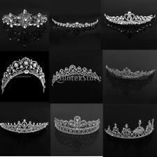 Diamante Women Wedding Bridal Hair Tiara Crown Crystal Veil Headband Prom Silver