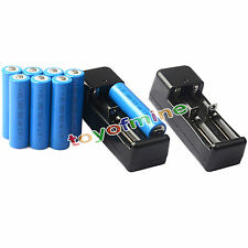 8x 3.7V 18650 GTL Li-ion 5000mAh Rechargeable Battery For Flashlight +2x Charger
