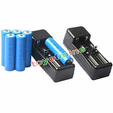 6x 3.7V 18650 GTL Li-ion 5000mAh Rechargeable Battery For Flashlight +2x Charger
