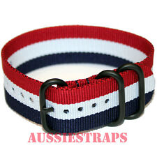 PREMIUM ZULU PVD 3 Ring RED WHITE BLUE 20-24mm Military Diver's watch strap band