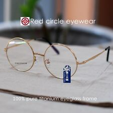Pure titanium eyeglasses round men Glass Spectacles women Optical Rx loop frame