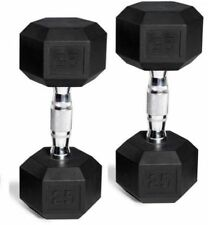 Rubber Coated Hex Dumbbells 5 - 50 lb Weight Pair set of 2 Weights Fitness NEW