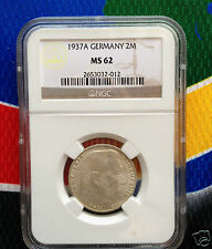 NGC MS 62 1937 A  WWII 2 Mark SILVER German Third  Reich Coin 5*