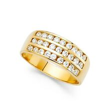 14k Yellow OR White Gold Round CZ Wedding Band Bridal Wide Band Anniversary Ring