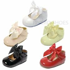 Girls Baby Children's Kids Christening Wedding Satin Bow Party Patent Shoes Size