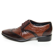 Men's wingtips brown real leather open lacing oxfords dress shoes US6-US10.5