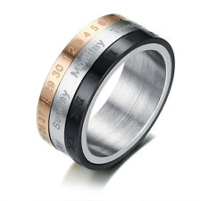 Men's Stainless Steel Calendar Ring Boy's Turnable Roman Numerals Band Size 7-12