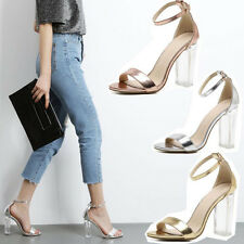 Vintage Ladies Ankle Strap Womens High Heels Strappy Sandals Open Toe Shoes G