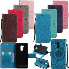 Flip Leather Wallet Stand w/Strap Flower Card Case Cover For Huawei Honor Models