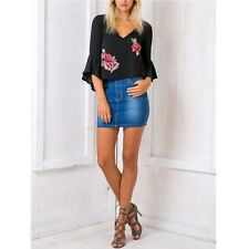 Embroidery V Neck Fashion Casual Summer Chiffon Blouse Short Ruffle Blouse