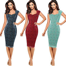 Womens Floral Flower Lace Cap Sleeve Slim Party Fitted Bodycon Knee Pencil Dress