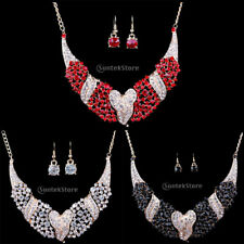 Women Prom Wedding Bridal Jewelry Crystal Love Heart Necklace Earrings Set Gift