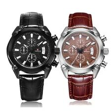 Luxury Military Stainless Steel Date Analog Men Quartz Leather Sport Wrist Watch