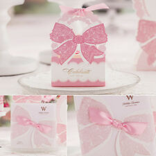 New Pink Bowknot Laser Cut Wedding Favour Bags Boxes Invitations Cards Envelope