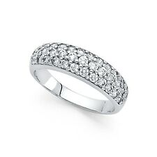 14k Yellow OR White Gold CZ Round Wedding Band Bridal Dome Band Anniversary Ring