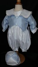 Baby Boys Blue/White Christening Romper-Suit-Outfit