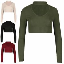 New Womens Ladies Ribbed Long Sleeve Choker Neck Keyhole V Cut Cropped Crop Top