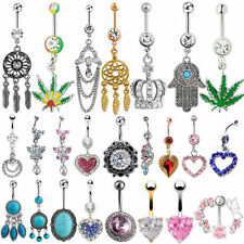 Navel Belly Ring Rhinestone Button Bar Barbell Body Piercing Jewelry Steady