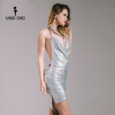 Missord 2017 Sexy sleeveless Deep-V halter split sequin dress backless dress