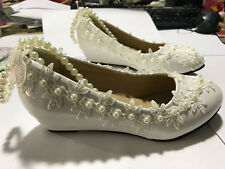 Princess Pearl Lace Floral Wedge Shoes Women Wedding Bridal High Heels New Pumps