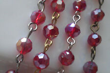 36 Inches of 6 mm Faceted Round AB Ruby Red Glass Beaded Rosary.