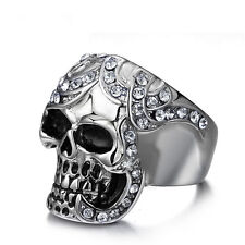 Stainless Steel Punk Skull Goth Ring Men's Cool Band Fashion Jewelry Size 8-12