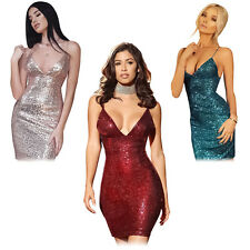 Sexy Women Sequin Bodycon V-neck Backless Evening Party Cocktail Prom Mini Dress