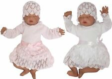 Baby Christening Dress Party dress + Hat gr 56 62 68 74 80 86 Wedding Knit dress