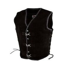 Metal Clasp Suede Vest Mens Motorcycle Bikies Heavy Duty Leather Vest Braided