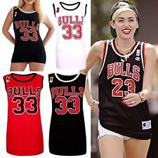 Womens Ladies BULLS 33 American Varsity Basketball Vest Jersey Top Gym T-Shirt