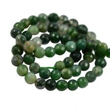 "6mm/8mm Natural Green Grass Moss Agate Faceted Round Beads Strand 15"" Jewelry"