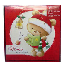 Christmas Cards - Glittered and Foiled - Box of 12 & Envelopes - Various Designs