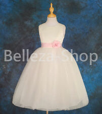 Ivory Satin Scoop Dress Wedding Flower Girl Pageant Occasion Size 18m-12 FG073
