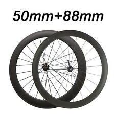 700C 50mm+88mm Clincher Tubular 3K Carbon Wheels Road Bike Bicycle Wheelset