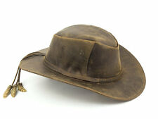 Brown Leather Safari Hat with three Rattlesnake Rattles