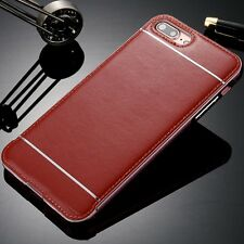 LUXURY Aluminum Metal Bumper Frame Case&Leather Back Cover For iPhone 5 6 7 Plus