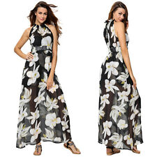 Womens Chiffon Floral Boho Party Evening Cocktail Long Maxi Dress Beach Sundress